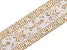 "3 Yards Religious Vestment Trim White Gold Metallic Jacquard Christian 2"" Wide"