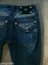 Miss Me Rhinestone Lace JP5002-20 Boot Med 09D Wash Jeans 25 x 32