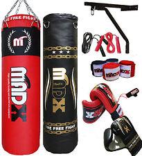 MADX 5ft Filled Heavy Boxing Punch Bag Custom Set + Chains + Bracket + Gloves