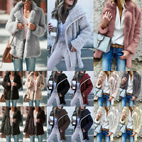 Ladies Women Winter Teddy Bear Fluffy Coat Cardigans Fleece Fur Jacket Outerwear