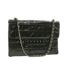 CHANEL Choco Bar Chain Hand Bag Black Patent Leather CC Auth rd1182