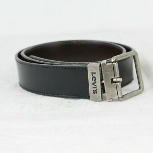 """X32 Levi's Chunky Leather Belt Double Side Black Brown ( 34_85 ) Full Length 39"""""""