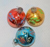 Set/3 Vintage Glass Glitter Christmas Tree Ornaments West Germany Multi-Color