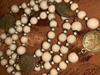 """Vintage  MIRIAM HASKELL Gold Coin and Beads Necklace 18"""" Rare Hard to find"""
