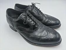 French Shriner Sterling Vintage Black Leather Wingtip Oxford Dress Shoes Size 8