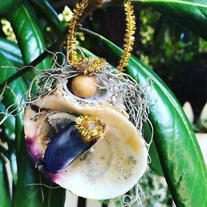 Handmade Tan Madonna & Child Seashell Christmas Tree Ornament Shell Beach