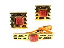 Gold Tone & Gold Stone Cufflinks & Tie Clasp Cufflinks Unbranded 122315
