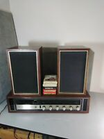 Vintage LearJet Stereo 8 Track Player AM FM Receiver Made Japan Wood model h-401