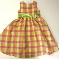Rare Editions Girls Dress Party Easter Holiday Sz 6X Sleeveless Green Pink Plaid