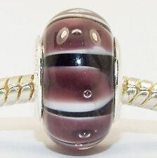 ANDANTE-STONES ORIGINAL SILBER MURANO GLAS BEAD BRAUN WEIß #1277 + GESCHENK