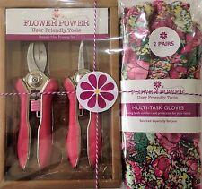 Ladies Gardening Gloves (Rose) & Mini Pruner Secateurs Set - Ladies Garden Gift