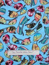 Nautical Fabric - Ocean Ave Beach Sunglasses Aqua - Benartex Kanvas Studio YARD