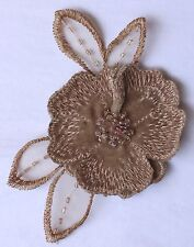 """Beaded Appliques - Lace - Beige 4 1/2""""/Glass Beads"""