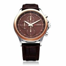CURREN 8138 Gold Bezel Brown Dial Brown Faux Leather Strap watch