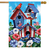 "American Birdhouses Summer House Flag Patriotic Red White and Blue 28"" x 40"""