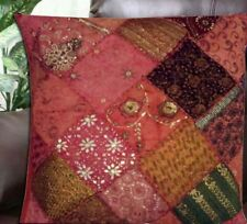 """SALE! 30"""" DEEP ORANGE HANDCRAFTED SEQUIN SARI THROW ACCENT CUSHION PILLOW COVER"""