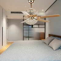 """52"""" Crystal Retractable Ceiling Fan Light Remote Control Chandelier Lamp GoldNew"""