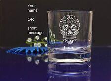 Personalised SUGAR SKULL engraved whiskey glass for Birthday, Christmas gift 140