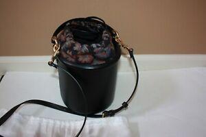 Coach Drawstring Bucket Bag Black with floral interior lining 69653