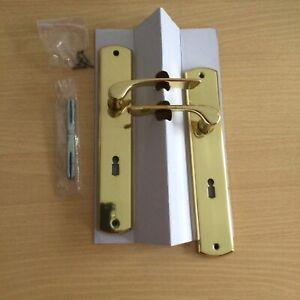 Türdrücker Langschild Messing poliert Drückergarnitur Türbeschlag für Zimmertür