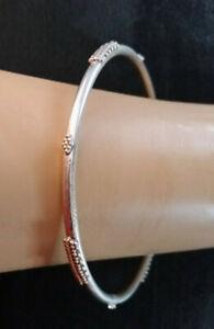 VTG Sterling Silver Bangle Bracelet Indonesian Artisan Bali Handmade 7g 925 #656