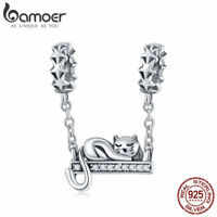 Bamoer S925 Sterling Silver Adorable Cat Safety charm With cz Fit Bracelet