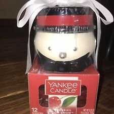 Yankee Candle Cherries On Snow Snowman Holder With 12 Tea Lights New & Sealed