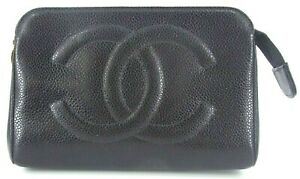 Auth CHANEL Black Caviar skin Timeless CC logo Stitch Cosmetic Pouch Case France