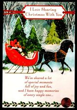 Christmas Horse Sleigh Trees Snow Presents - Large Christmas Greeting Card New