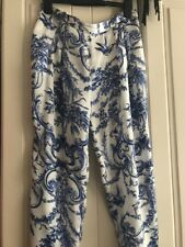 Zara Silk Satin Floral White Blue Summer Trousers. Size XS.