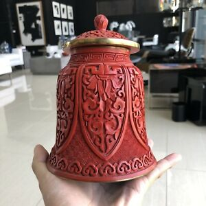 Fine Chinese Cinnabar Red Lacquer Carved Lidded Bell Jar Archaic Art Lappets Art