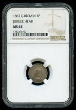 1887 Great Britain Silver 3 Pence Jubilee Head NGC MS 65