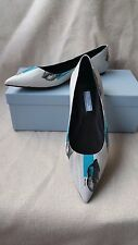 New Prada Graphic Lip Graffiti Pointy Toe Flats 37 Logo Print Leather Shoes blue