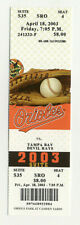 Baltimore Orioles Vs Tampa Bay Devil Rays April 18 2003 Unused Suite Ticket
