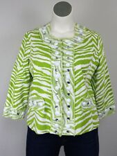 Berek XL Lime Green & White Zebra Cotton Jeweled Blazer Jacket Rhinestones