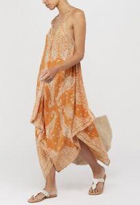 Monsoon Orange White V Neck Beaded Evening Summer Handkerchief Maxi Dress £49