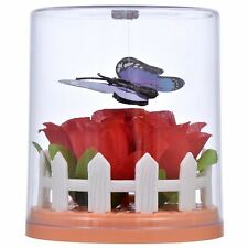 NEW Solar Powered FLUTTERING BUTTERFLY Purple Flower Red Roses DANCING TOY GIFT