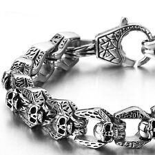 MENDINO Men's 316L Stainless Steel Bracelet Dragon Skull Link Clasp Gothic Biker