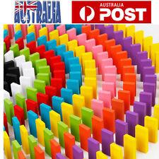 240pcs Wooden Domino Block Tiles Tumbling Doninoes Knock Down Kids Toy Gift AU