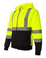 ML Kishigo JS102 Lime Green Hi-Vis Hooded Sweatshirt Size M-5X *Free US Shipping