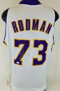 Dennis Rodman Signed Lakers Jersey (JSA) 5×NBA champion (1989, 1990, 1996–1998)
