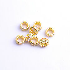 10Pcs Big Hole Tube Czech Crystal Rhinestone Rondelle Spacer Beads 10MM