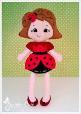 Doll Sewing Pattern - Ladybug Stuffed Felt Girl Rag Doll Pattern & Tutorial