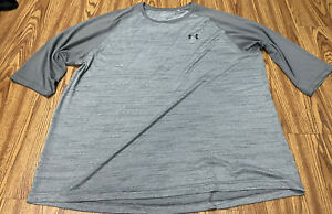 MEN UNDER ARMOUR HEATGEAR 3XL Gray Good Condition SHIRT Crossfit RAGLAN