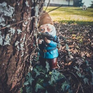 Funny Army Garden Gnome Statue Resin Desktop Lawn Ornament Figure Sculpture