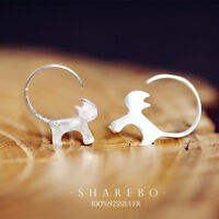 925 Silver Lovely Kitty Cat Animal Drop Earrings Women Brand Jewelry Girls Gift