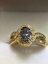 MARK HENRY 18K Yellow Gold Oval Alexandrite and Diamond Ring (GIA; Size 6 3/4)