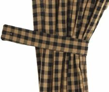 """Lined 63"""" Curtains Set Black Star Patch Scalloped Hem Khaki Check with Tie Backs"""