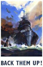 """Vintage Navy War Bond Poster """"Back them up""""  WW2"""