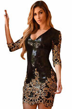 BLACK Gold Paillettes Bodycon Mini Dress Party Wear Taglia UK 10-12-14 disponibili
